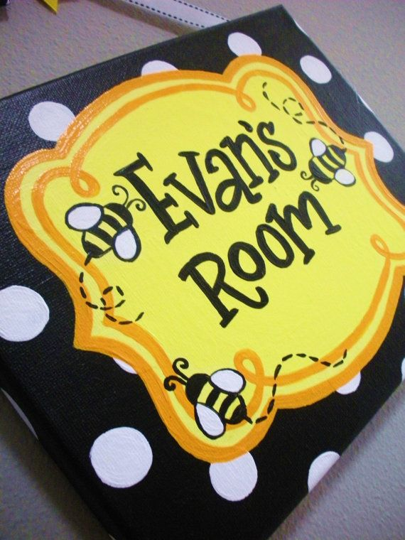 Bumble Bee Themed Name Plaque Sign For Teachers Or Nurseries By KraftinMommy