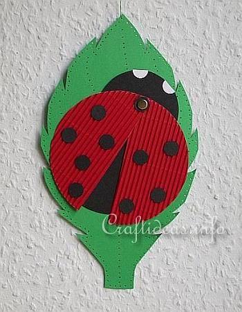 Paper Craft for Spring - Paper Lady Bug on a Leaf