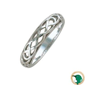 Admire Ladies Celtic ring.  Style pictured 18ct white gold Celtic wedder ring. 4.5mm width.