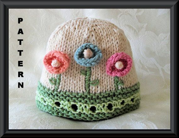 Hand Knitted BABY HAT PATTERN for Flowered and Embroidered Baby Hat--Children Clothing-Hand Knitted Baby Hat-How Does Your Garden Grow on Etsy, $4.99
