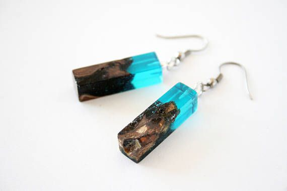 Blue Rectangle Wood Resin Earrings Drop Earrings Resin Wood