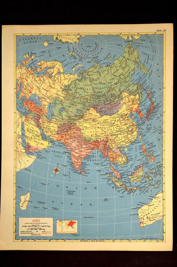 Vintage Map Asia World Projection 1950s 1953