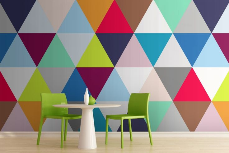 Multicoloured Triangles Geometric Wallpaper  http://www.muralswallpaper.co.uk/multicoloured-triangles-geometric-wallpaper#