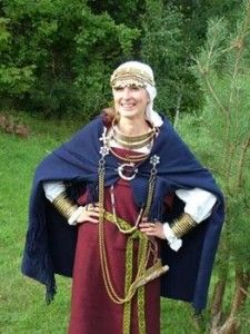 A Semigallian woman in full ancient garb, circa 11th-12th century.