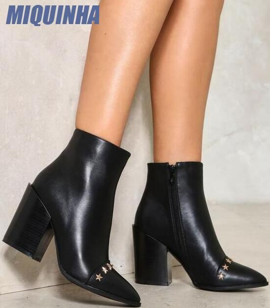 Hot Women Pointy Toe Block Heels PU Ankle Boots Patent Leather Side Zipper Shoes