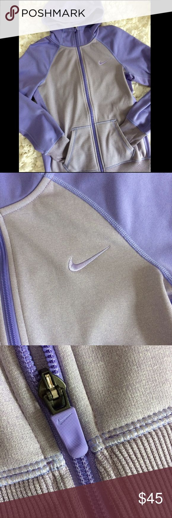 Nike Therma-Fit purple zip up hoodie S Great warm Nike swoosh logo zip up hoodie. In very gently used condition,looks new. The inner fleece is still super soft to the touch and does not show wash wear. Lots more nike available in my kloset,bundle and save! Nike Tops Sweatshirts & Hoodies