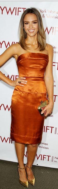 Jessica Alba: Dress – Vivienne Westwood  Shoes – Giuseppe Zanotti  Purse – Kotur