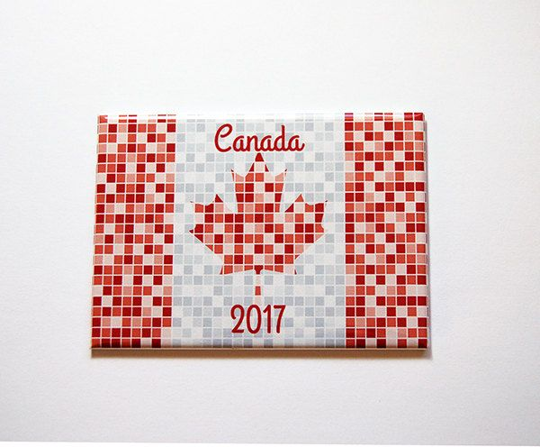 Canada 2017, Canada Magnet, Magnet, Kitchen Magnet, Fridge magnet, Canada Day, Maple Leaf, Red, White, Red Mosaic, Canada Flag (7141) by KellysMagnets on Etsy
