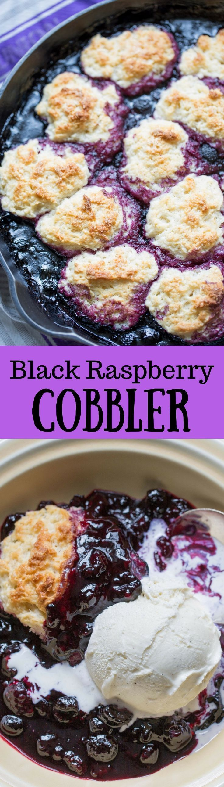 Black Raspberry Cobbler ~ A classic dessert cobbled together in a flash - substitute blackberries or blueberries as desired.  Make the most of your summer berries!  www.savingdessert...