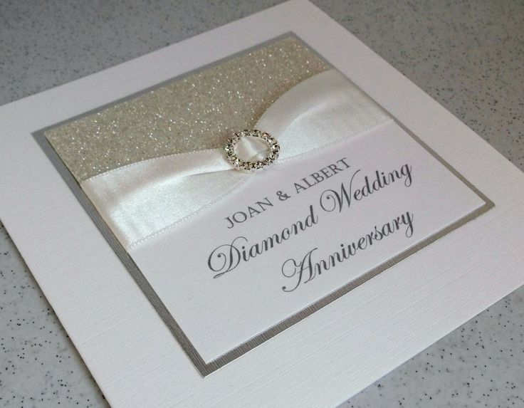 Card Making Ideas Silver Wedding Part - 17: Diamond Wedding Anniversary Card Handmade Designer Anniversary Card, With A  Clean And Simple Design. A High Quality, White Card Base With A Panel Of  Silver ...
