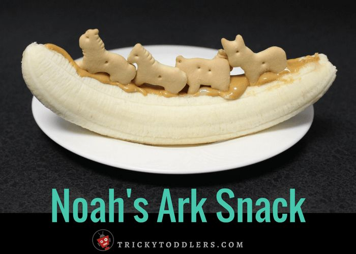 How to make a Noah's Ark Banana Snack. This Bible Story snack is perfect for toddlers. Follow along with our toddler-friendly Bible Activities on our Blog!