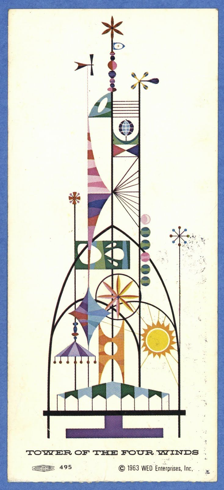 """Back of an """"it's a small world"""" Ticket from the 1964 New York World's Fair featuring the Tower of the Four Winds by Rolly Crump"""