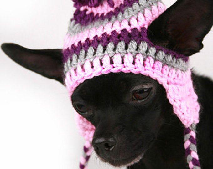 Hond stripe Hat haak paars, roze en grijs oor klep hoed voor honden