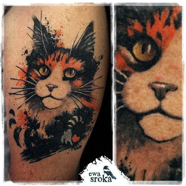 🐾 #ewasroka 🐾 #cattattoo #mainecoon #mainecooncat #mainecoontattoo #watercolortattoo #watercolourtattoo #watercolor #tattoo #tatuaz #tatuazkot #kot #trashtattoo #lodz #poland #kotoszop