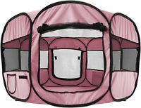 """OxGord 45"""" Pet Dog Cat Playpen Tent Portable Exercise Kennel Cage Crate PINK"""