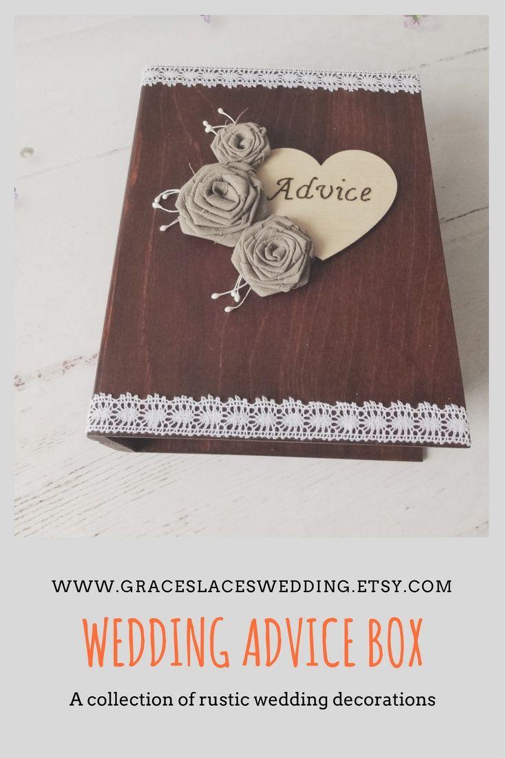 Rustic wedding advice book box. #advicebox #weddingadvice #rusticweddingdecor #bookbox #bohowedding #bohemianwedding #woodland