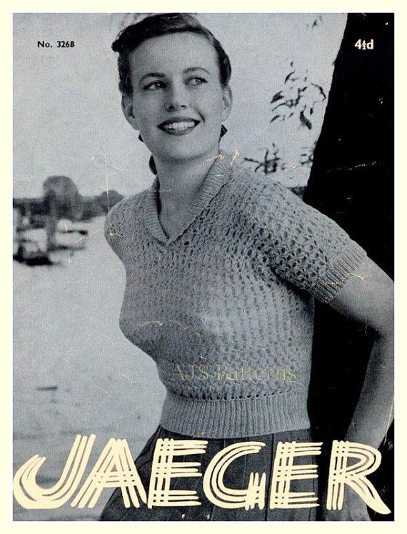 Pdf Knitting Pattern For A Retro Jaeger Designed Roll Neck Lacy