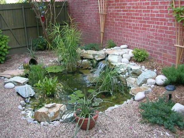 38 best images about backyard pond pool waterfall on for Small garden with pond design