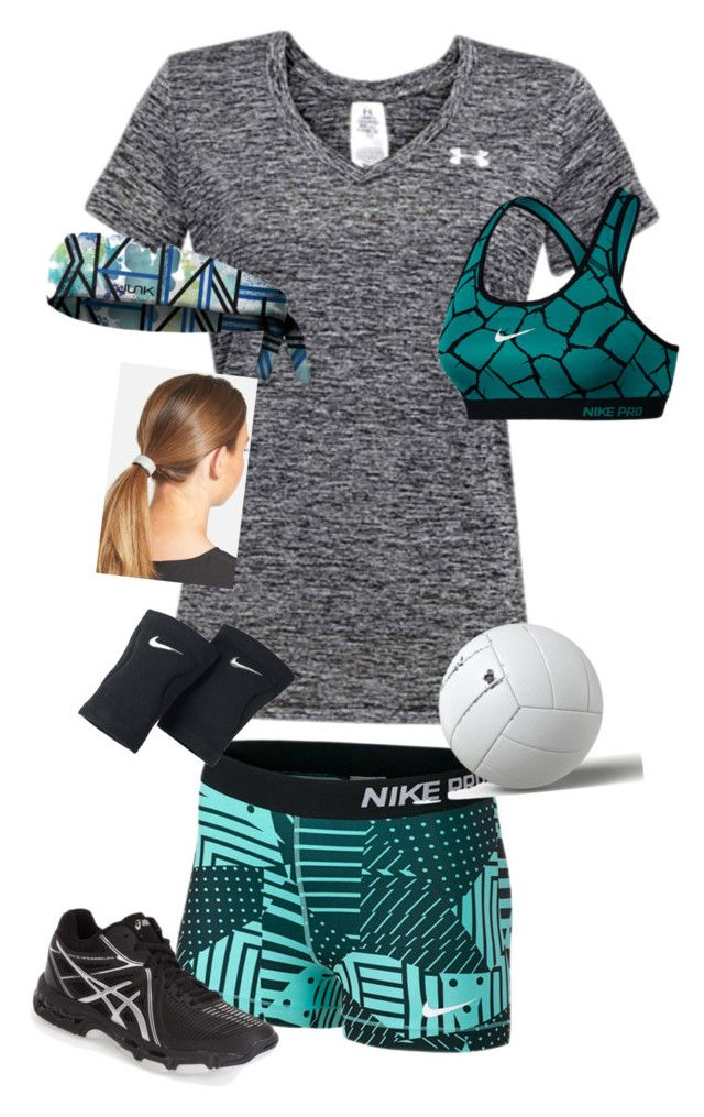"""""""Volleyball Practice"""" by rachelames21 ❤ liked on Polyvore featuring NIKE, Under Armour, Asics and L. Erickson"""