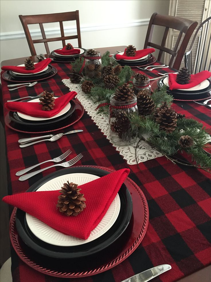 2015 Christmas Table-I used a buffalo plaid stadium blanket as table covering, mason jars filled with small pinecones, wooden branches and larger pinecones from yard to fill in centerpiece. @darla9366