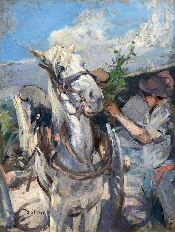 """Giovanni Boldini (Italian, 1842-1931) """"La bardatura di un cavallo"""""""