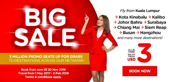 AirAsia FREE SEATS - 3000000 Promotion Seats Up For Grabs!   Up to 3 million promotional seats are up for grabs in AirAsia's final Free Seats promotion of the year. From 14 November 2016 (0001h GMT 8) to 20 November 2016 (2400h GMT 8) guests can explore destinations such as Penang Kota Kinabalu Siem Reap Shenzhen Surabaya Visakhapatnam Tehran Mauritius Delhi Busan Hangzhou and more with all-in-fares one-way from as little as RM9.54 during the 1 May 2017 to 6 February 2018 travel period…