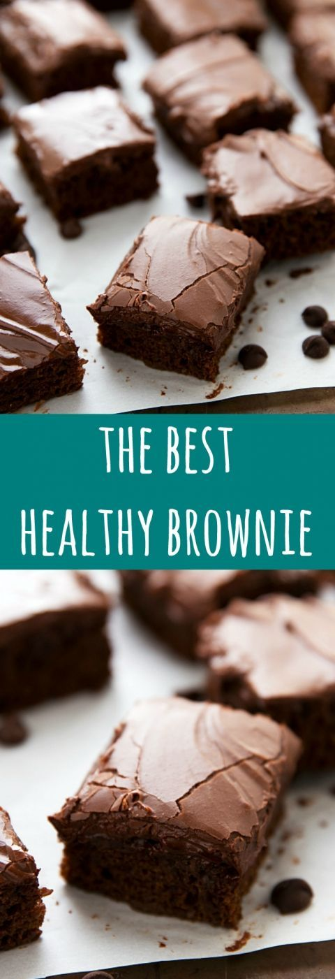 The BEST healthy brownies with no flour no refined white sugar no butter and no eggs. These delicious brownies are easy to make and include an optional frosting recipe made using Greek yogurt!