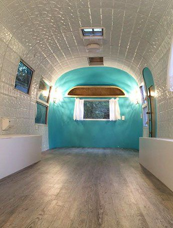 DIY Success Stories - The Rolling Runway renovated a 1963 Airstream trailer with tin panels from American Tin Ceilings. See the full renovation here: http://www.americantinceilings.com/blog/rolling-runway/?utm_source=Pinterest&utm_medium=Social&utm_campaign=Rollingrunway