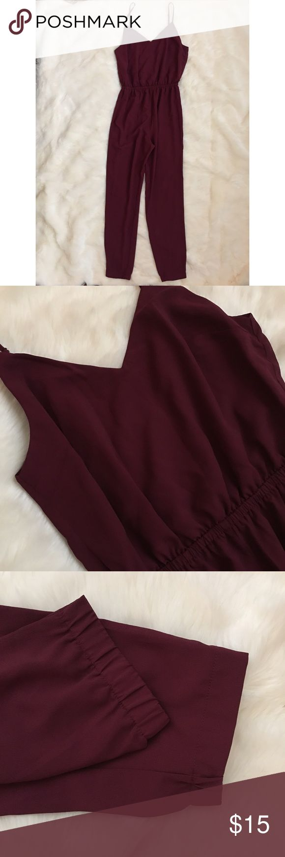 """FOREVER 21 DEEP RED CAMI JUMPSUIT SIZE SMALL NWT DEEP RED CAMI JUMPSUIT - never been worn. no damage to item Elasticized waist & ankles Woven -- 100% polyester 52.25"""" bust to hem -- 39"""" waist to hem -- 28"""" inseam -- 24"""" waist --36"""" chest Forever 21 Other"""