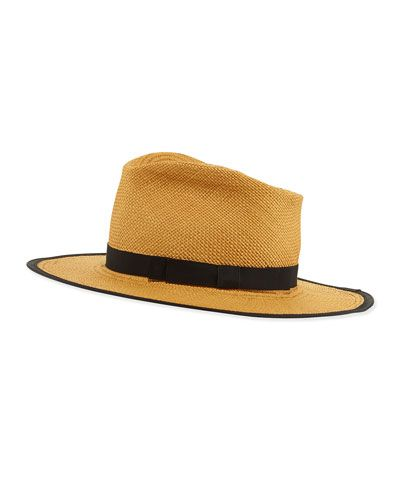 Gladys+Tamez+Trimmed+Straw+Hat+Cafe+|+Headwear+and+Accessory