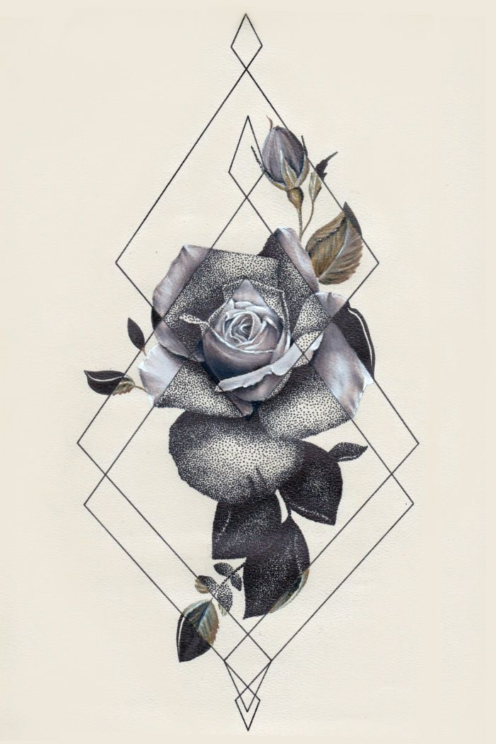geo rose ii art print by kit king oda - Tattoo Idea Designs