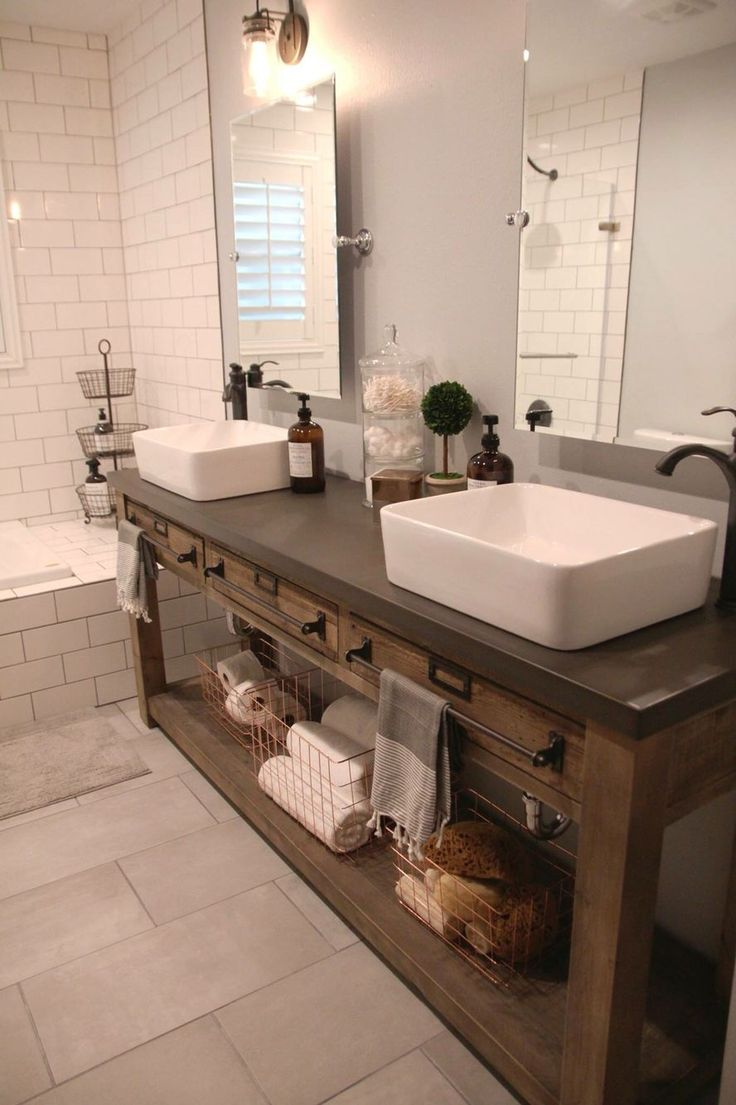 Bathroom Remodel: Restoration Hardware Hack - mercantile console table hacked into a double vanity. Vessel sinks & faucet from Lowe's. Tilt mirrors & edison sconces from Amazon. Copper baskets from Home Goods.