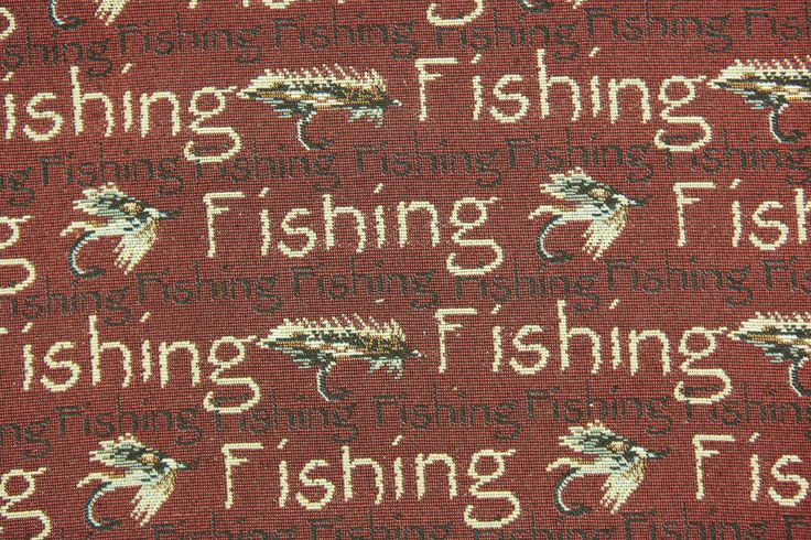 """fabricwarehouse.com - Fly Fishing Rustic Tapestry Fabric In Red By The Yard 54""""W Bulk Discounts, $19.98 (http://fabricwarehouse.com/unknown/tapestries/fishing-red-tapestry-fabric/)"""