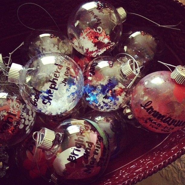 Christmas Decorations With Names On Them: Clear, Plastic Ornaments Filled With Various Materials
