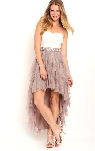Deb Shops strapless two tone #homecoming #dress with iridescent stone trim waist and high low tendril skirt