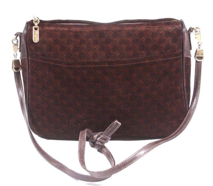 Vintage Salvatore Ferragamo Brown Suede Pattern Cross Body Shoulder Handbag #SalvatoreFerragamo #CrossBody