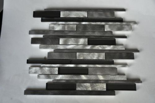Brushed Aluminum And Glass Strip Mosaic Tile Wall