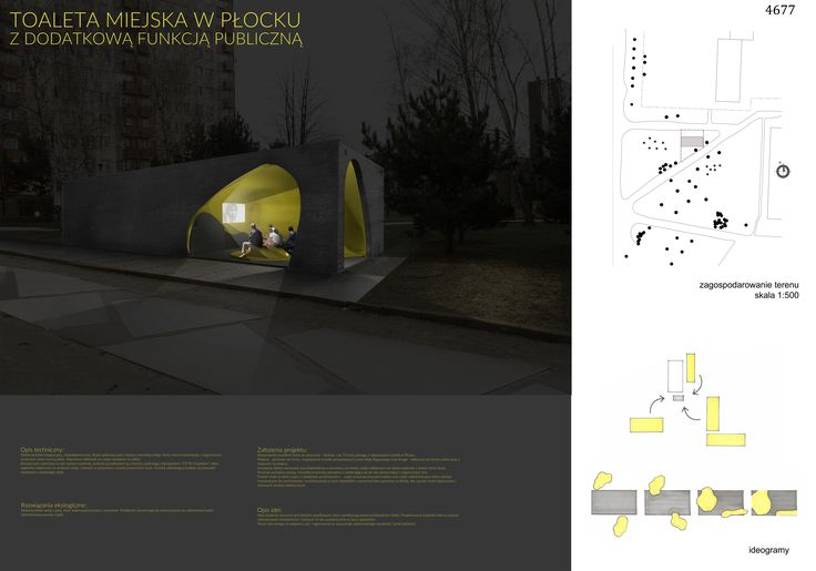 Public toilet with additional social space in Plock, Poland. Competition entry.