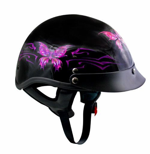 PINK BUTTERFLY Womens DOT Motorcycle HALF Helmet Ladies GLOSS BLACK Outlaw New #Outlaw