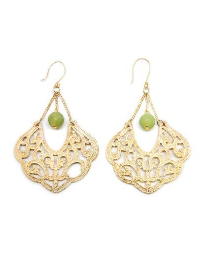 green and filigree earrings