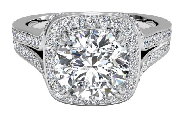Masterwork Cushion Halo Diamond 'V' Band Engagement Ring - in Platinum (0.44 CTW)