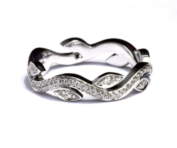 Ready to Ship  Leaf Eternity WEDDING BAND with by BeautifulPetra, $1100.00