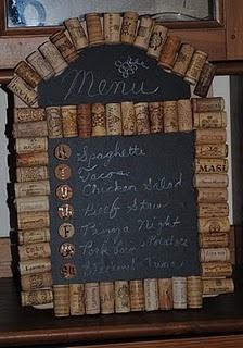 Recycled wine cork menu board