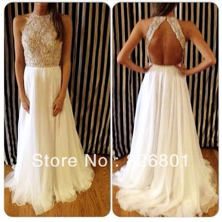 Vestidos De Fieata Sexy 2014 New Arrival High Neck Beaded  White Chiffon Open Back Long Prom Dresses For Sepical Occasion Dress US $176.00