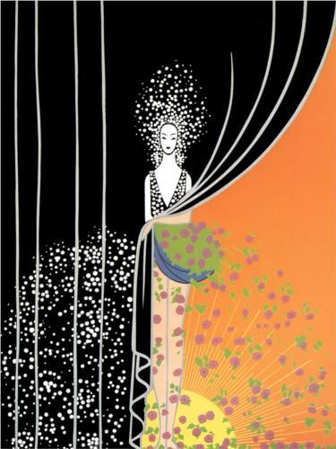 Erte. An artist that began designing for Poiret, later becoming a famous fashion artist for women's and stage dress. This is one of his artworks.