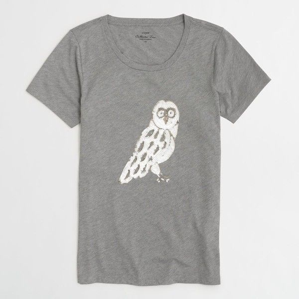 J.Crew Factory owl collector tee ($43) ❤ liked on Polyvore featuring tops, t-shirts, j.crew, j crew t shirts, owl top, j crew tee and owl tee