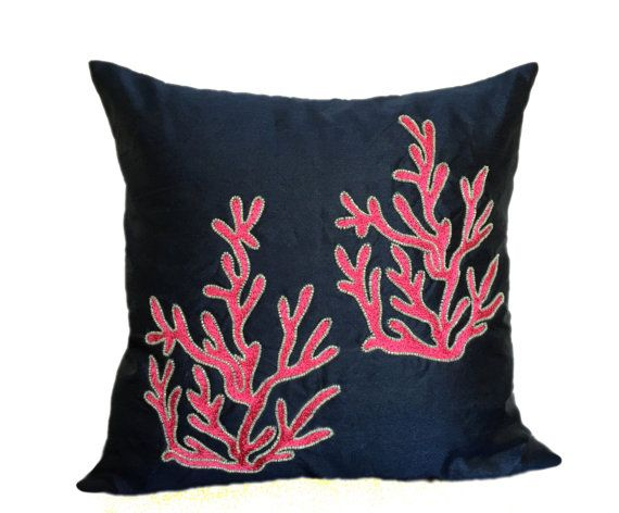 Hey, I found this really awesome Etsy listing at https://www.etsy.com/listing/240930319/navy-coral-pillow-cover-nautical-pillow