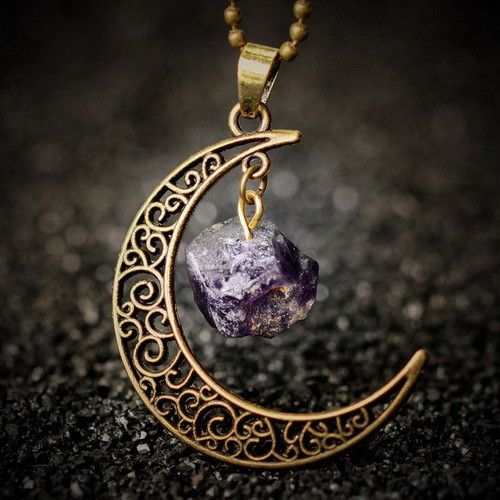 Crescent Moon Stone Necklace - Style 4