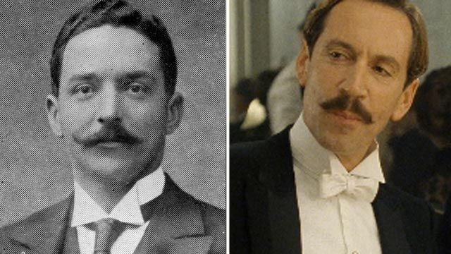 """PHOTO: Joseph Bruce Ismay, right, passenger on the Titanic. Jonathan Hyde is seen in a scene from the movie """"Titanic"""" portraying Joseph Bruc..."""