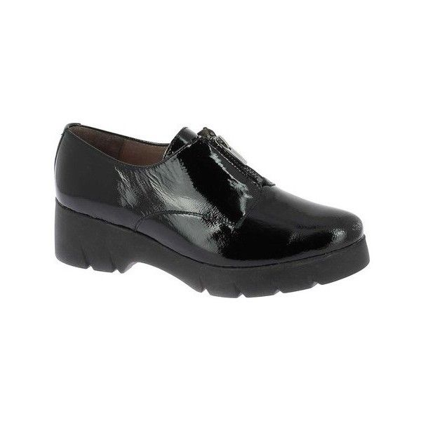 Women's Wonders C-4704 Platform Derby (265 CAD) ❤ liked on Polyvore featuring shoes, oxfords, black, casual, slip-on shoes, slip on shoes, black patent oxfords, black slip on shoes and black patent shoes